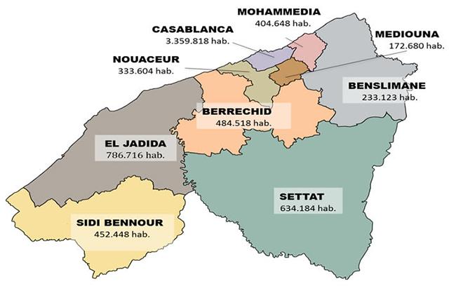 Région de Casablanca Settat gérée par la filiale al omrane Casablanca Settat