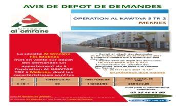 AVIS DE DEPOT DE DEMANDES - OPERATION AL KAWTAR 3 TR 2  MEKNES