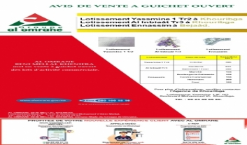 AL OMRANE BENI MELLAL KHENIFRA met en vente à guichet ouvert Huit Lots  d'activité commerciale